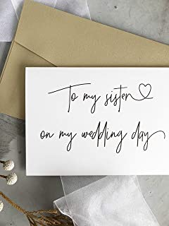 To My Sister on My Wedding Day Card Bridesmaid Gifts Thank You Cards for Bridal Party