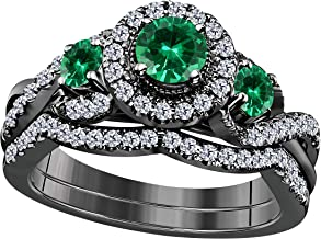 1.00 CT Lab Created Green Emerald Round Shape 14k Black Gold Plated Infinity Halo Style Three Stone Engagement Bridal Set Ring Ladies