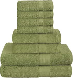 GLAMBURG Ultra Soft 8-Piece Towel Set - 100% Pure Ringspun Cotton, Contains 2 Oversized Bath Towels 27x54, 2 Hand Towels 16x28, 4 Wash Cloths 13x13 - Ideal for Everyday use, Hotel & Spa - Green