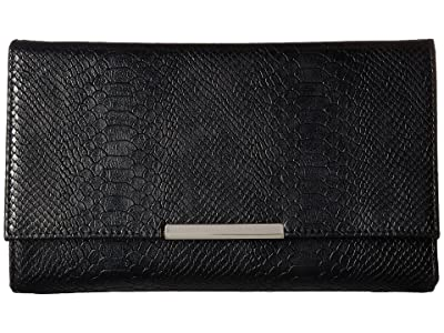 Jessica McClintock Nora Metallic Snake Large Envelope Clutch (Black) Clutch Handbags