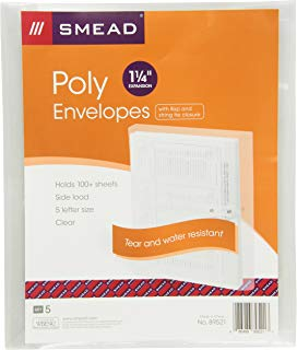 "Smead Poly Envelope, 1-1/4"" Expansion, String-Tie Closure, Side Load, Letter Size, Clear, 5 per Pack (89521)"