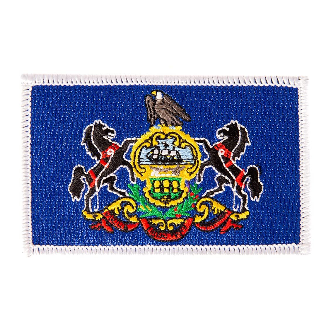 Pennsylvania Flag Patch Single 3.5Wx2.25H Iron On Sew Embroidered Tactical Morale Back Pack Hat Bags (Single Patch)