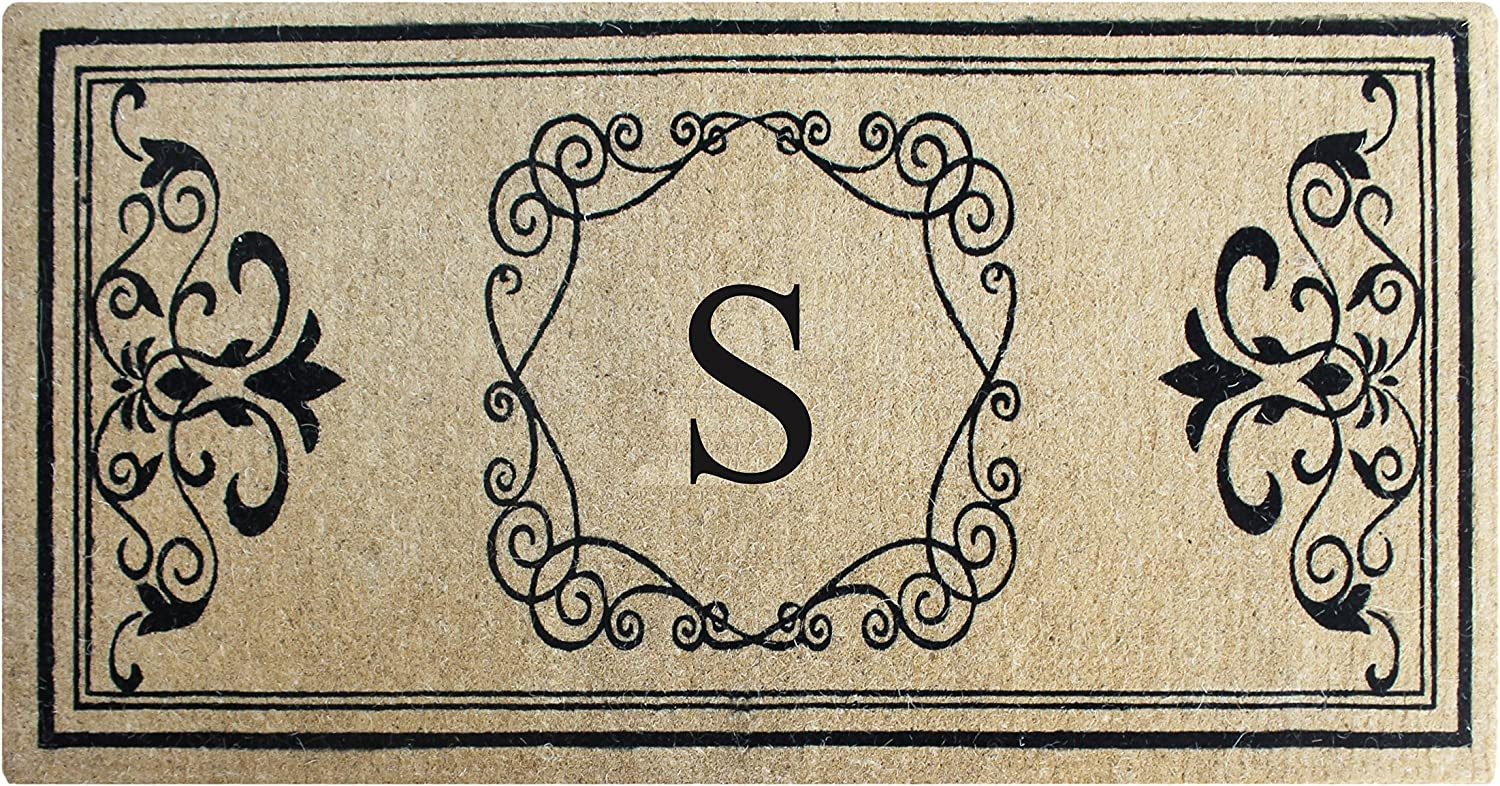 A1 HOME COLLECTIONS First Impression A1HOME200104-S Hayley Entry Double Doormat, Monogrammed S