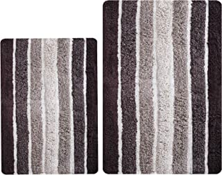 Bathroom Rugs Set 2 Piece in 100% Cotton Alpine Stripe 21x32/17x24 - Brown Beige, Reversible Bath Rugs Set, Cotton Bath Ma...