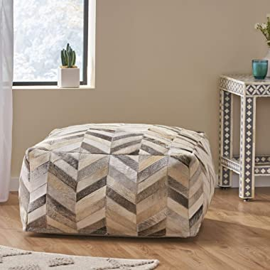 Christopher Knight Home Dolores Handcrafted Boho Cowhide Pouf, Beige, Gray, Brown