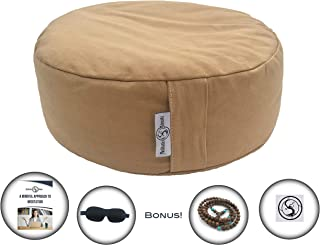 Existentials Buckwheat Meditation Cushion Plus Eye Mask, Mala Necklace, and E-Book - Improve Posture and Never Suffer from Numb Limbs Again | Use as a Zafu Yoga Bolster | Large One Size Fits All …