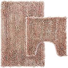 Bathroom Rugs Luxury Chenille 2-Piece Bath Mat Set, 31x20 Inch Bathroom Rug Plus 20x20 Inch U Shape Toilet Mat with Non Sl...