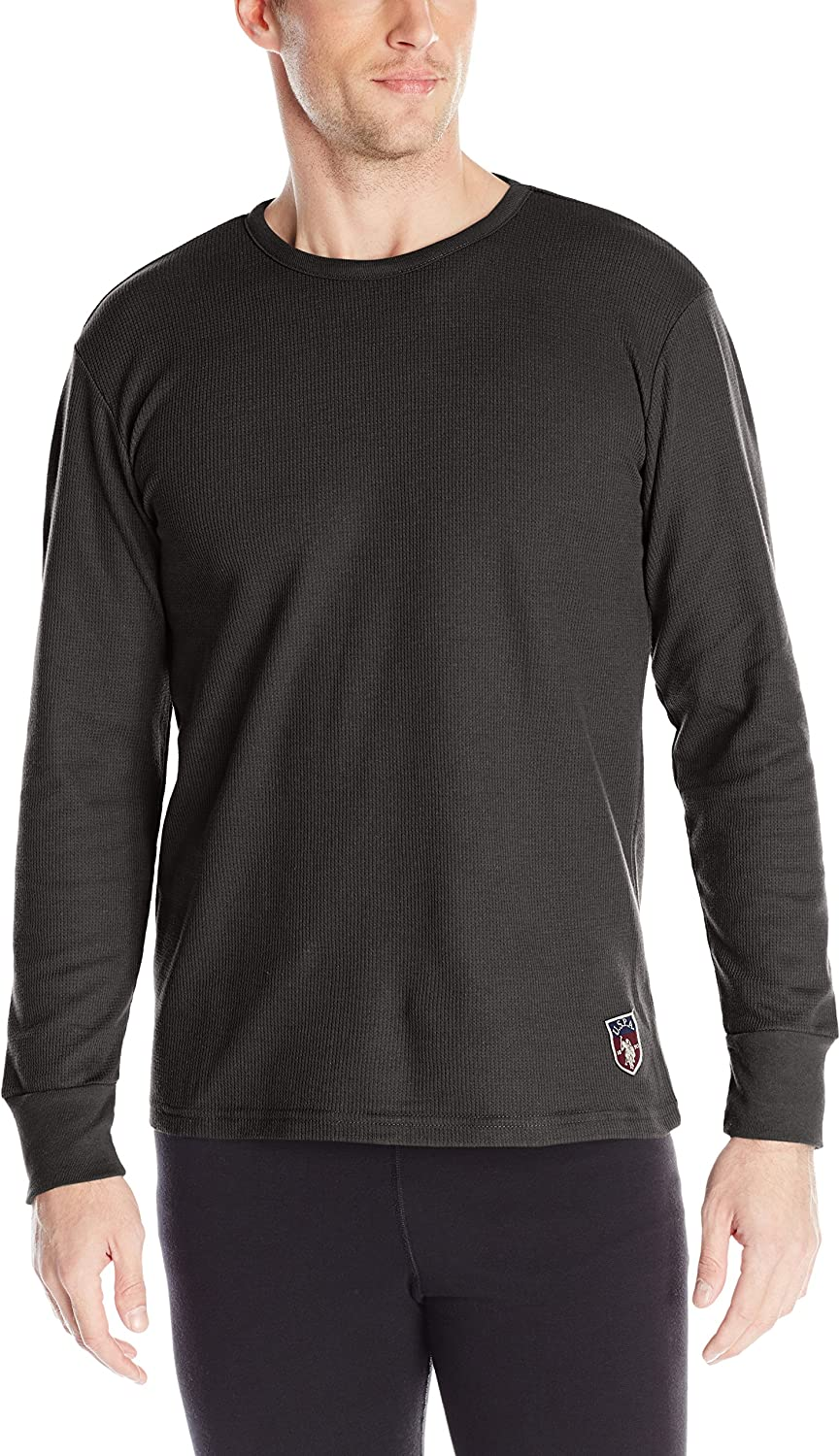 0894bb6ab931 POLO Mens Long Sleeve Crew Neck Thermal Shirt, Black, Large U.S. ...