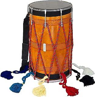 Maharaja Musicals Bhangra Dhol, Straight, Mango Wood, Natural, Padded Bag, Nylon Shoulder Strap, Beaters, Punjabi Dhol Drum Instrument (PDI-DBH)