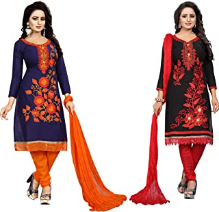 Ethnicset Women's Cotton Silk Salwar Suit Salwar Suit Material (whale-pari-combo)