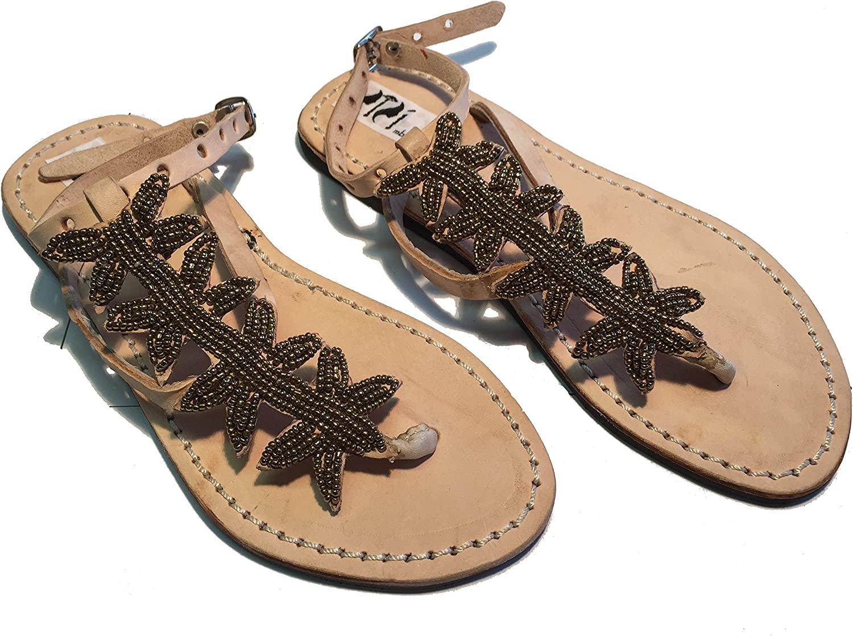 SISI mbili Women's Sandals flip Flops Kenya Original Star gold Model with Handmade Beads Unique Pieces