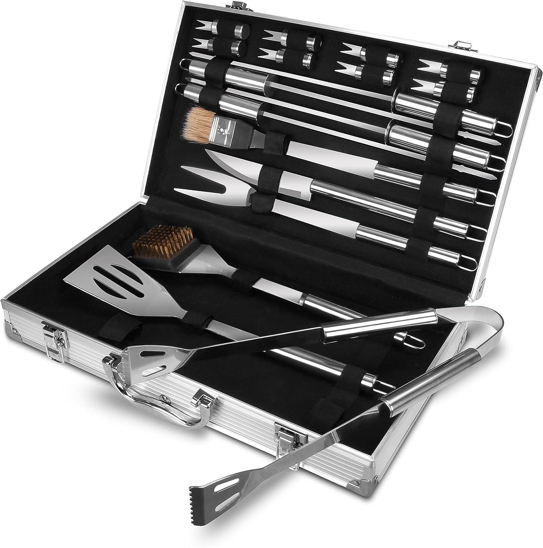 Utopia Kitchen Stainless Steel BBQ Kit Set - 18 Pieces BBQ Set - Dishwasher Safe - with a Case/Kit