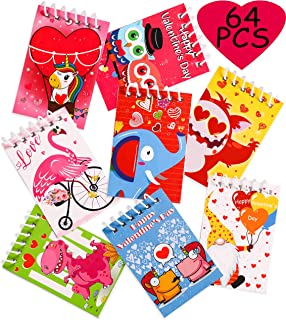 64 Pieces Valentine's DayNotepads Party Favors for Kids - Spiral Notebooks Valentines School Classroom Gift Exchange Pape...