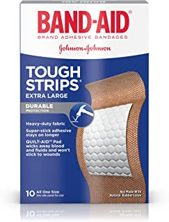 Band-Aid Brand Tough-Strips Adhesive Bandage for Minor Cuts & Scrapes, Extra Large Size, 10 ct(Pack of 2)
