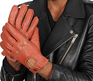 Deerskin Biker Gloves For Mens - Women Real Leather Motorcycle Riding Gloves