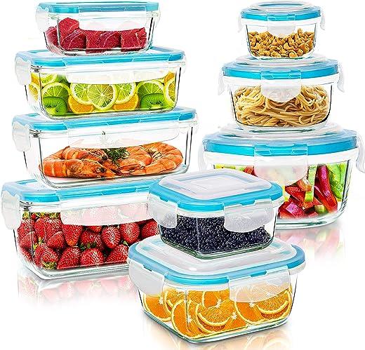 KICHLY Glasbehälter mit deckel – 18 Teile (9 Behälter, 9 Deckel) – Glas-Frischhaltedosen Spülmaschinen, Mikrowellen & Gefrierschrankfreundlich -…