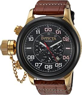 Men's Russian Diver Stainless Steel Quartz Watch with Leather-Calfskin Strap, Brown, 26 (Model: 22291)
