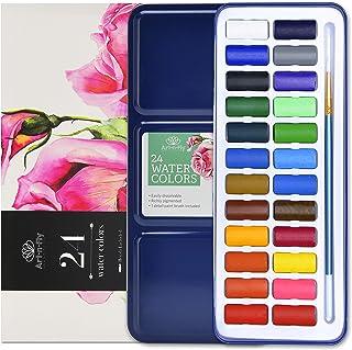 24 رنگ آبرنگ مجموعه قابل حمل سفر آب رنگ رنگ با برس آب