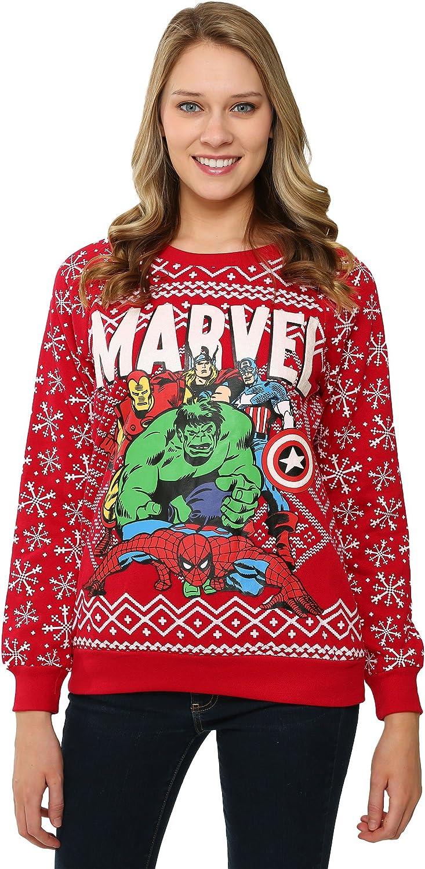 Marvel Comics Merry Christmas Avengers Ugly Holiday Sweatshirt for women (Medium)
