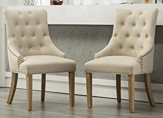 Roundhill Furniture Button Tufted Solid Wood Wingback...