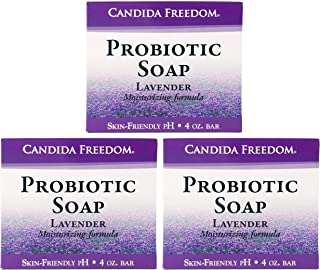 Candida Freedom 100% Natural Probiotic Soap-Anti fungal Soap for Skin Fungus, Jock Itch, Acne, Dandruff and Poison Ivy-Powerful Lavender Antibacterial Body Soap-4oz Lavender Scent-Pack of 3
