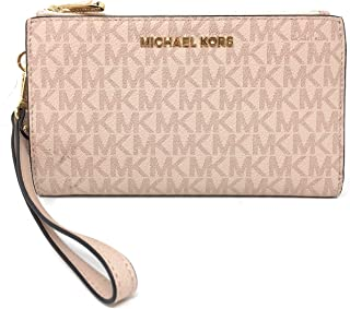 Michael Kors Jet Set Travel Double Zip Wristlet - Signature PVC (Ballet)