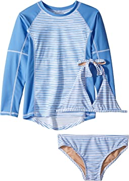 Toobydoo - Blue White Stripe Bikini & Rashguard Set (Infant/Toddler/Little Kids/Big Kids)