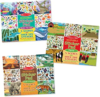 Melissa & Doug 93447 Reusable Sticker Pads Set: Jungle, Farm & Under the Sea