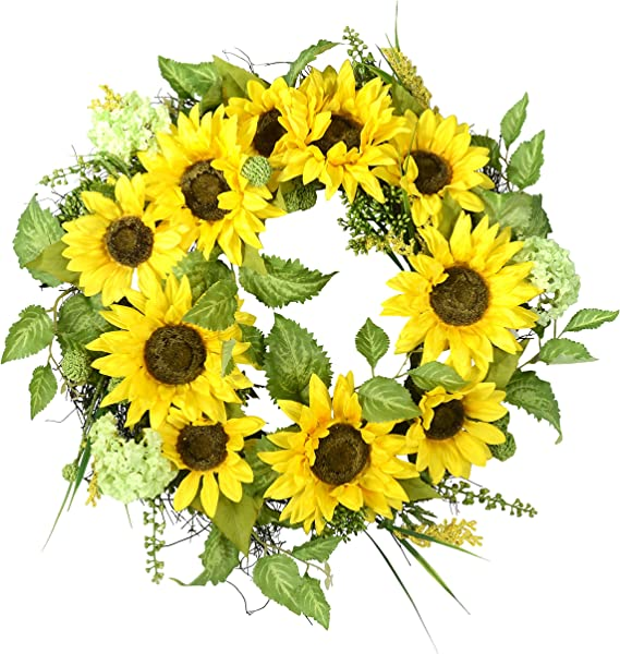 22 Inch Sunflower Wreath With Hydrangea Fern And Spring Flowers On A Natural Twig Base Artificial Floral And Leaves
