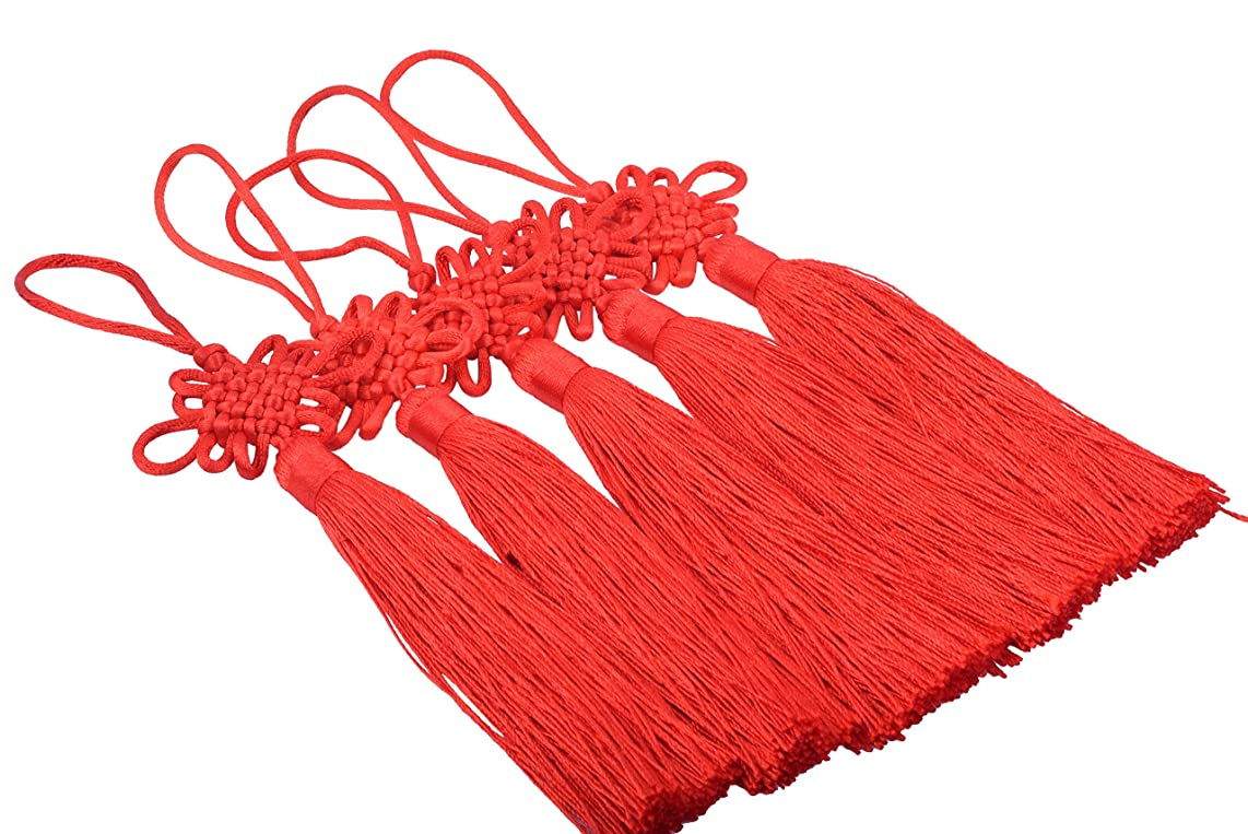 KONMAY 10pcs Red Handmade Silky Large Size(6.4'') Tassels with Satin Silk Made Chinese Knots (Red)