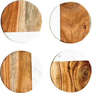 Creative Co-Op Marble & Mango Wood Round Coasters (Set of 4 Pieces)