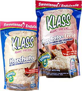 Klass Instant Fiesta Drink Mix Powder Variety Pack of 2 - Horchata Fresa Original + Horchata Fresa Strawberry Cinnamon Flavored Soft Drink- Perfect Summer Drink Mix For Adults, Teens, Kids - Two Pack