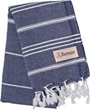 Bersuse 100% Cotton - Anatolia Hand Turkish Towel - Head Hair Face Baby Care Kitchen - 22X35 Inches, Dark Blue