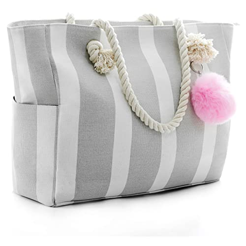 8118bc3e602d Large Canvas Shoulder Bag - Beach Tote with Cotton Rope Handles and Cute  Pompom