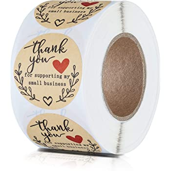 """1.5"""" Thank You for Supporting My Small Business Stickers, Classy Retro Sticker for Bags, Boxes, Tissue, Ideal for Crafters & Online Sales, 500 Labels Per Roll"""