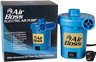 Air Boss 120V Electric Air Pump for Inflatables, Very Fast 1,000 Liters of Air Per Minute, Fills 3 Times Faster Than Similar Looking Pumps, Air Mattress, Rafts, Pool Toys, Airbed, 3-Year Warranty!