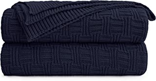 Large 100% Cotton Navy Blue Cable Knit Throw Blanket for Couch Sofa Bed with Bonus..