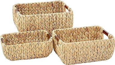Artera Large Wicker Storage Basket - Set of 3 Woven Water Hyacinth Baskets with Handle, Large Rectangular Natural Nesting ...