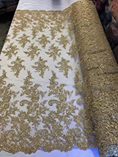 SAMPLE CUTS Sequins Lace Fabric Shiny Lace Sequined Lace Style 13331A-SEQ