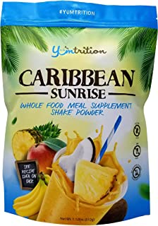 Yumtrition Meal Replacement Shakes Protein Powder Healthy Drink Supplement. Whey & Plant. Low Carb Nutritional Smoothie Ideal for Weight Loss. Gluten Free. for Women & Men. Caribbean. 15 serv