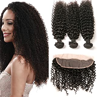 Brazilian Bundles Kinky Curl With Frontal 13x4 Free Part Lace Base Ear To Ear With Baby Hair And 3 Bundles Unprocessed Virgin Human Hair Extensions Wet And Wavy Bleached Knots 1b(10 12 14 +8frontal)