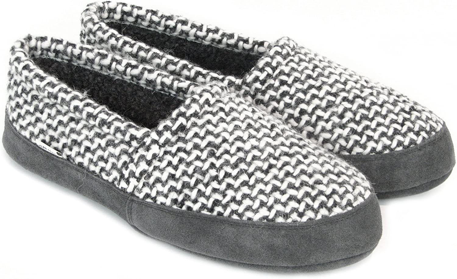 Polar Feet Perfect Mocs Slippers for Women in Grey Wool Weave