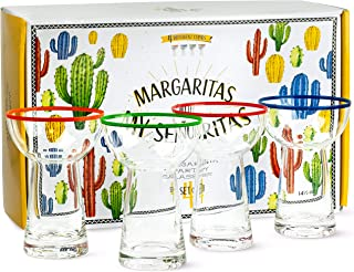 Premium Large Margarita Glasses | 4 Big 14.5 oz Piece Gift Set | Non-Wobble Shape, Colored Rim for Easy ID, Stemless, Blown Made | Thick Heavy Cocktail and Dessert Glassware