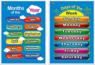 """Days of The Week, Months of The Year,2 Laminated Educational Posters for Toddlers,17"""" X 22"""""""