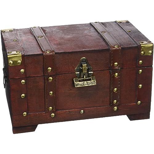 Brynnberg - Boîte de Rangement - Coffre de Pirate Fait Main en Bois et métal - Malle idéale pour Jouets, Souvenirs, Bijoux (Florida 28x17x16 cm)