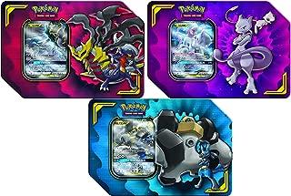 Pokemon TCG Tin Bundle: Tag Team Mewtwo & Mew + Giratina & Garchomp + Melmetal & Lucario Tins   3 x promos   12 Booster Packs Total   3 x Metal GX Marker