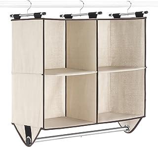 Whitmor 4-Section Closet W/Rod Organizer, Canvas