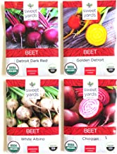 Sweet Yards Seed Co Beet Lovers' Organic Seed Variety Pack - 4 Unique Packets of Heirloom Non-GMO USDA Certified Organic Pure Beet Seeds