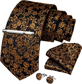 DiBanGu Plaid Tie Men's Silk Tie and Pocket Square Cufflinks Tie Clip Set Wedding Business