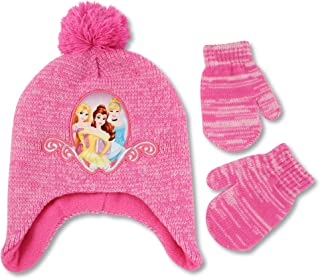 Disney Toddler Girls Princess Hat and Mittens Cold Weather Set, Pink, Age 2-4